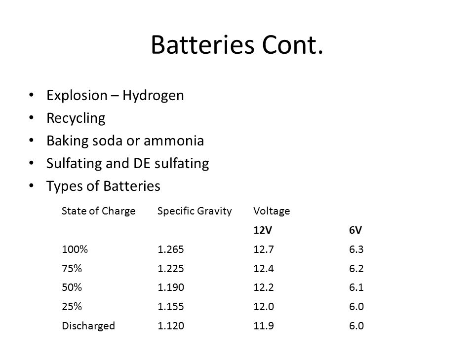 Batteries Cont. Explosion – Hydrogen Recycling Baking soda or ammonia Sulfating and DE sulfating Types of Batteries State of ChargeSpecific GravityVol