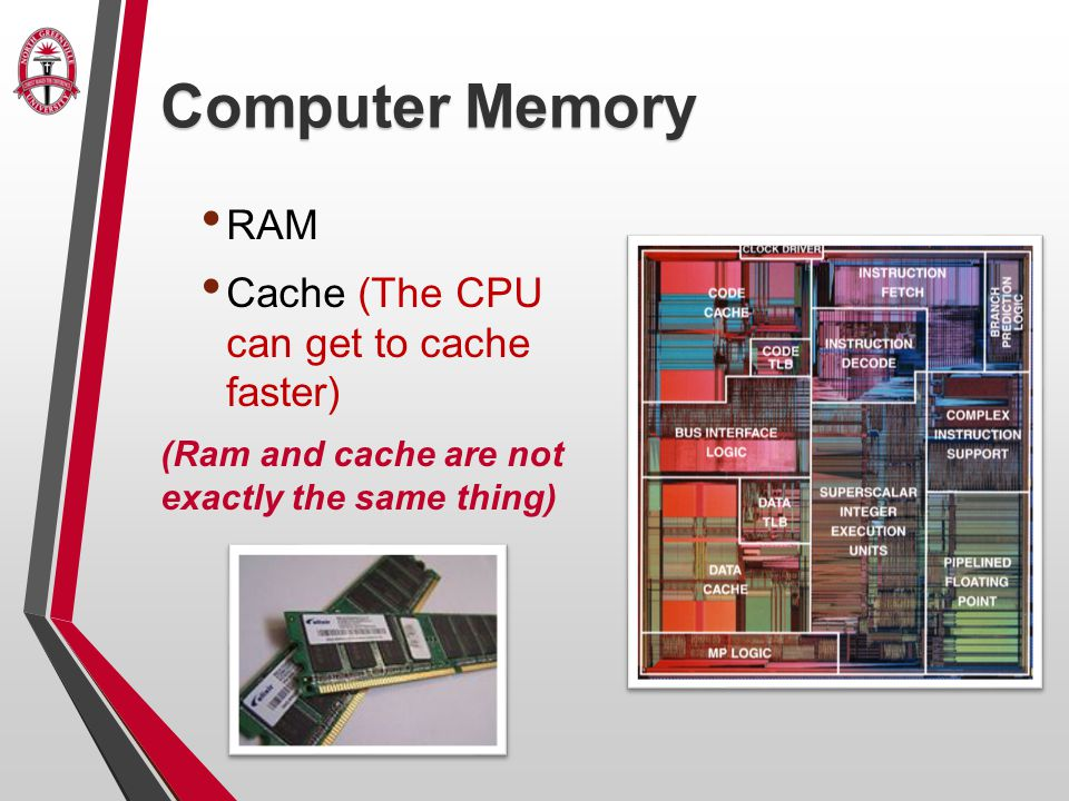Computer Memory RAM Cache (The CPU can get to cache faster) (Ram and cache are not exactly the same thing)