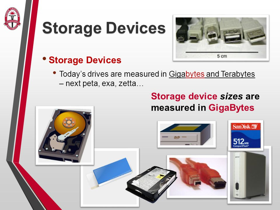 Storage Devices Today's drives are measured in Gigabytes and Terabytes – next peta, exa, zetta… Storage device sizes are measured in GigaBytes