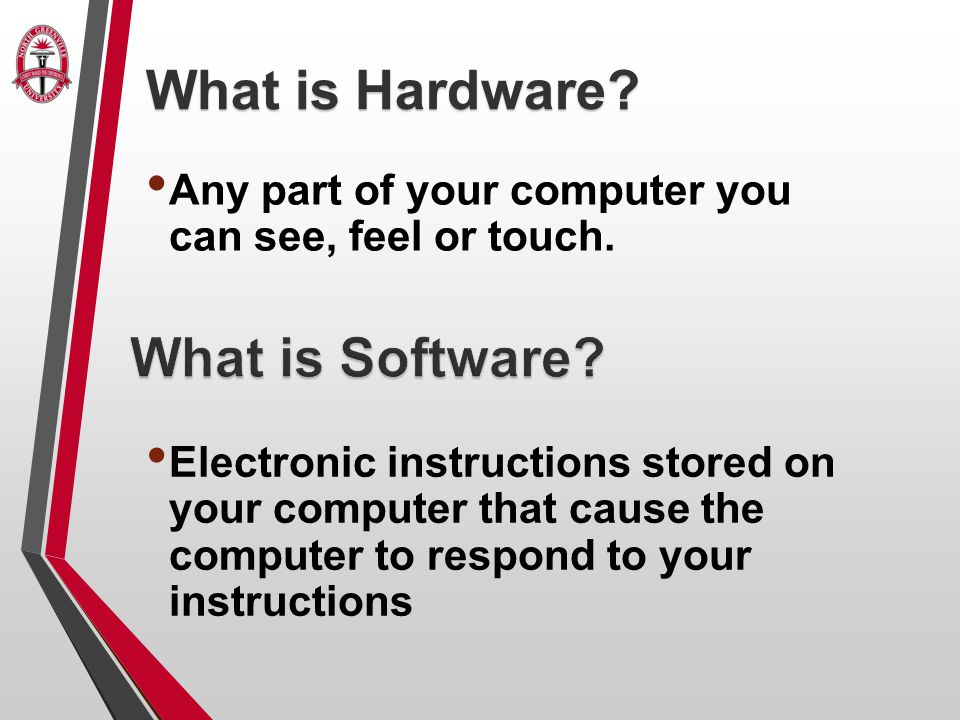 Any part of your computer you can see, feel or touch.
