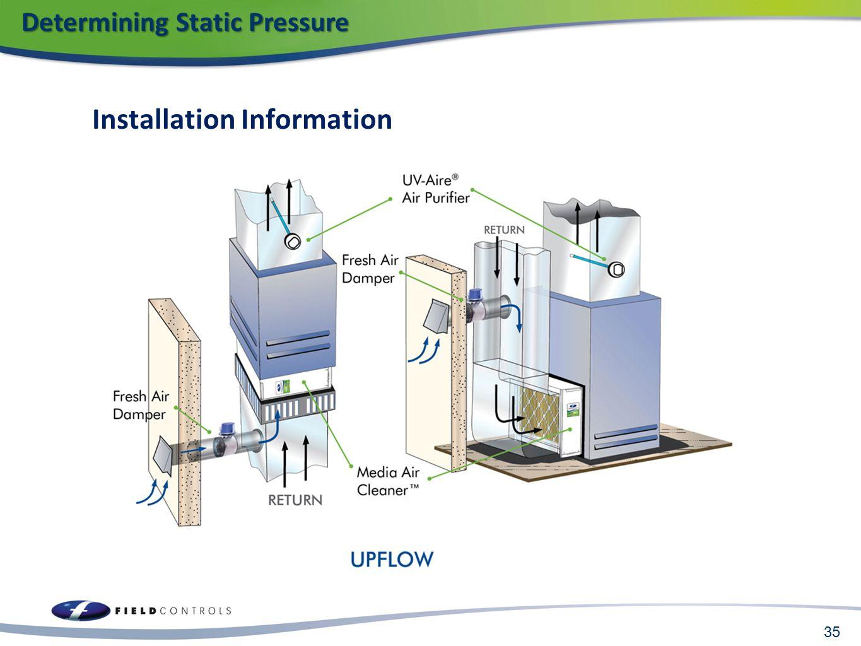 Installation Information 35 Determining Static Pressure Determining Static Pressure