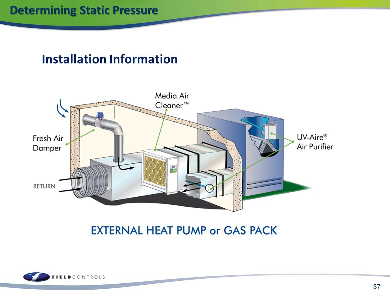 Installation Information 37 Determining Static Pressure Determining Static Pressure