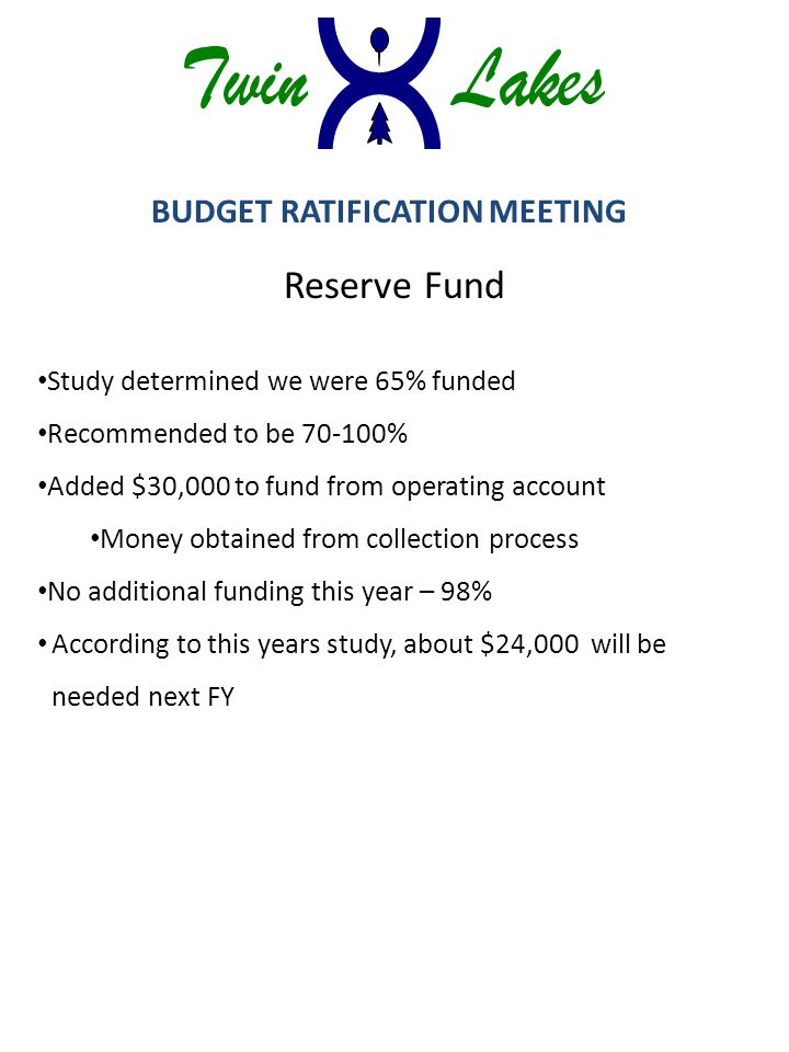 BUDGET RATIFICATION MEETING Reserve Fund Study determined we were 65% funded Recommended to be 70-100% Added $30,000 to fund from operating account Money obtained from collection process No additional funding this year – 98% According to this years study, about $24,000 will be needed next FY