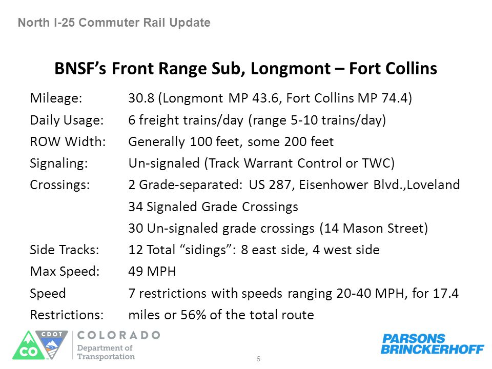Right of Way Analysis North I-25 Commuter Rail Update Analyze four distinct segments Fort Collins South Transit Center to Longmont – EIS went to Downtown Fort Collins SH 119: Longmont to I-25 I-25: SH 119 to Weld Co.