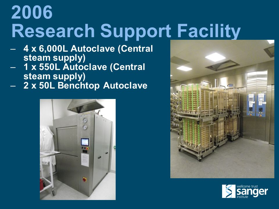 2006 Research Support Facility –4 x 6,000L Autoclave (Central steam supply) –1 x 550L Autoclave (Central steam supply) –2 x 50L Benchtop Autoclave