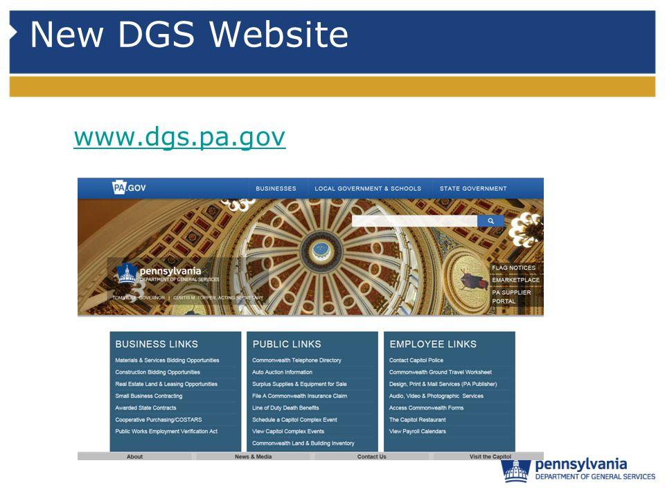 New DGS Website www.dgs.pa.gov