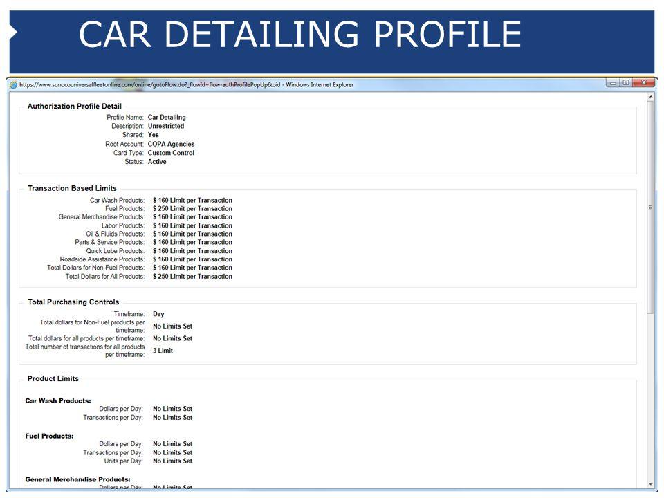 CAR DETAILING PROFILE