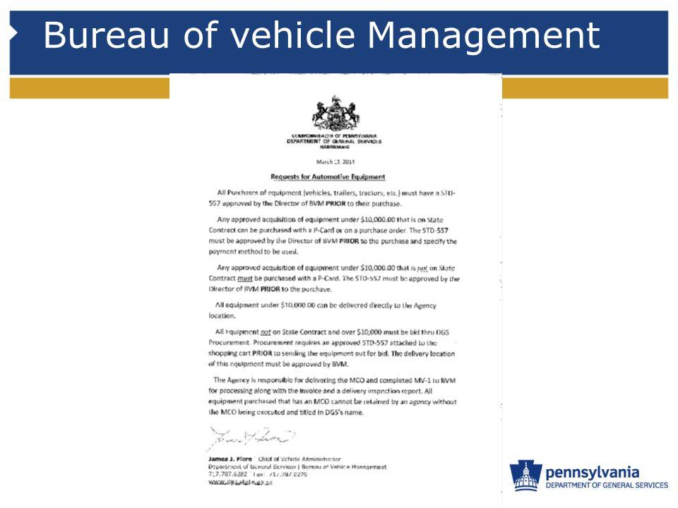 Bureau of vehicle Management