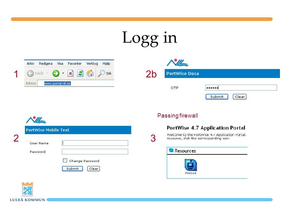 Logg in 1 Passing firewall 2 2b 3