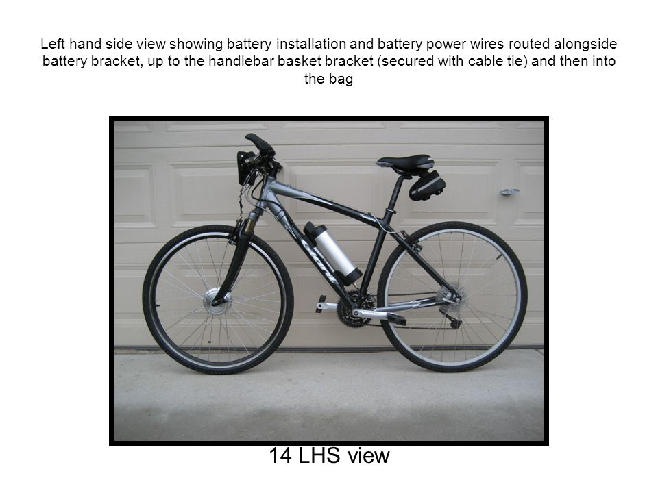 Left hand side view showing battery installation and battery power wires routed alongside battery bracket, up to the handlebar basket bracket (secured with cable tie) and then into the bag