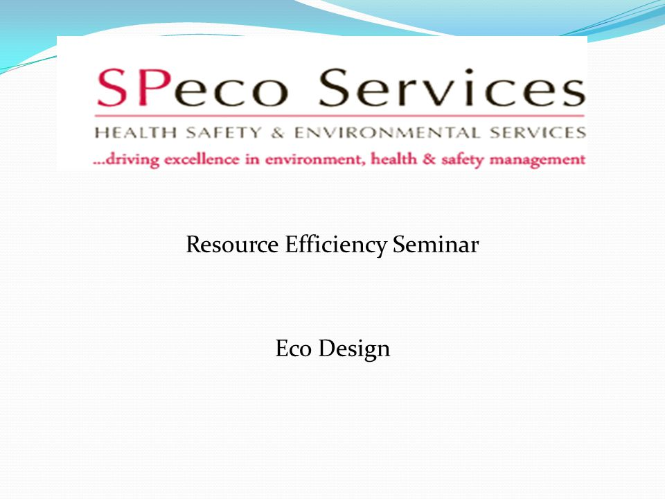 Resource Efficiency Seminar Eco Design