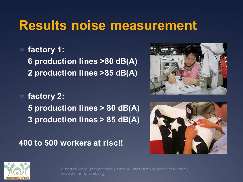 Human@Work Occupational Health & Safety training and consultancy www.humanatwork.org Results noise measurement  factory 1: 6 production lines >80 dB(A) 2 production lines >85 dB(A)  factory 2: 5 production lines > 80 dB(A) 3 production lines > 85 dB(A) 400 to 500 workers at risc!!