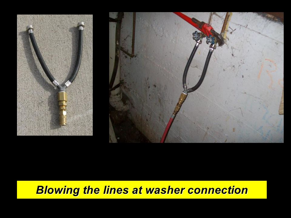 Blowing the lines at washer connection