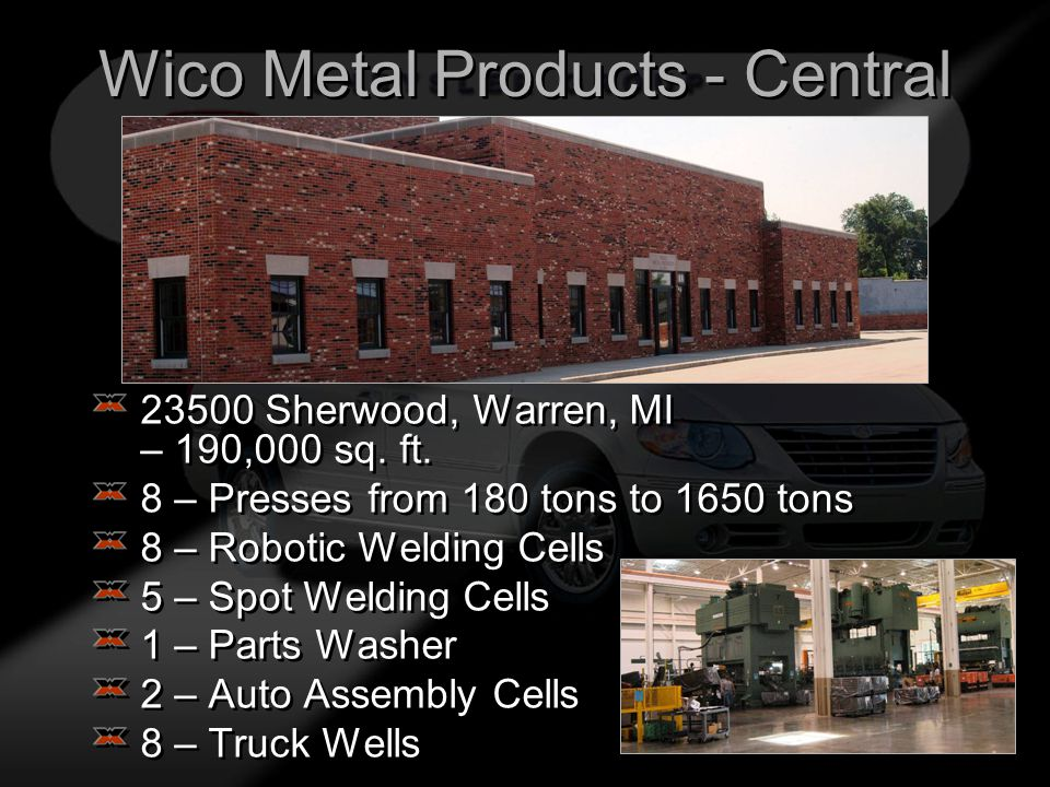 Wico Metal Products - Central 23500 Sherwood, Warren, MI – 190,000 sq.
