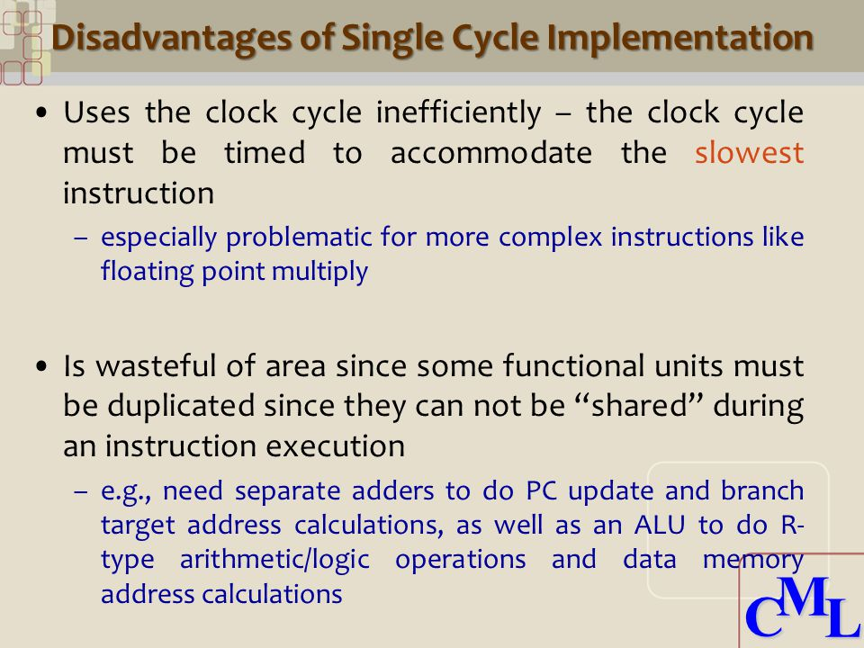 CML CML Disadvantages of Single Cycle Implementation Uses the clock cycle inefficiently – the clock cycle must be timed to accommodate the slowest instruction –especially problematic for more complex instructions like floating point multiply Is wasteful of area since some functional units must be duplicated since they can not be shared during an instruction execution –e.g., need separate adders to do PC update and branch target address calculations, as well as an ALU to do R- type arithmetic/logic operations and data memory address calculations
