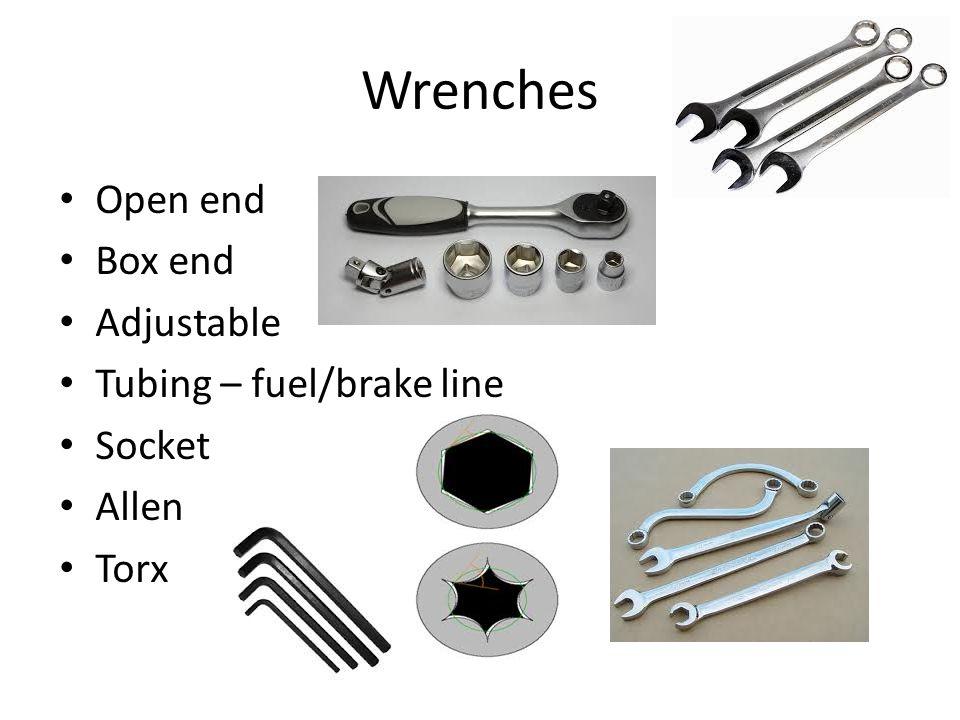 Wrenches Open end Box end Adjustable Tubing – fuel/brake line Socket Allen Torx