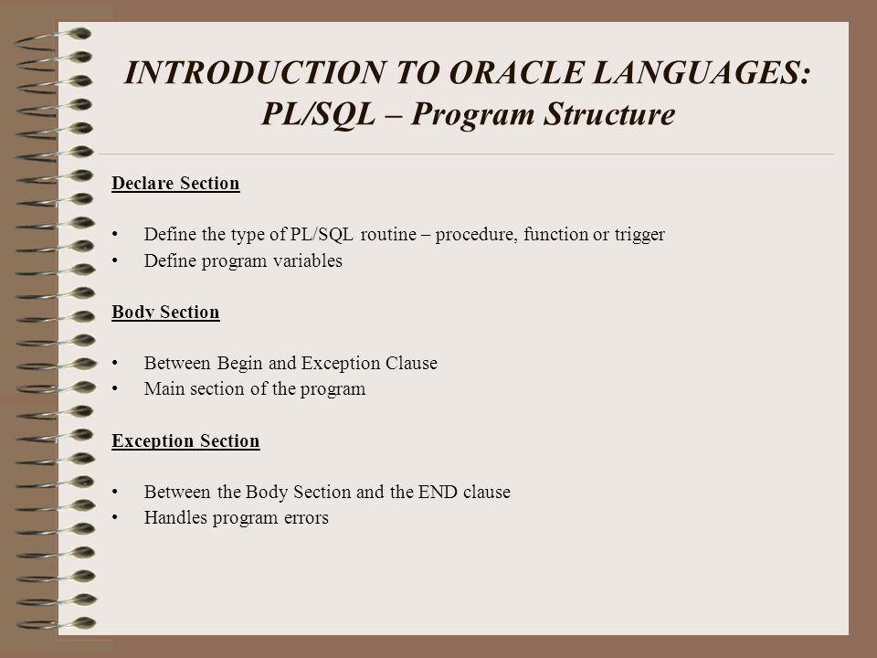 INTRODUCTION TO ORACLE LANGUAGES SQL> select ename from emp; ENAME ---------- n‰?þq SQL> @c:\scripts\mydecryptf Function created.