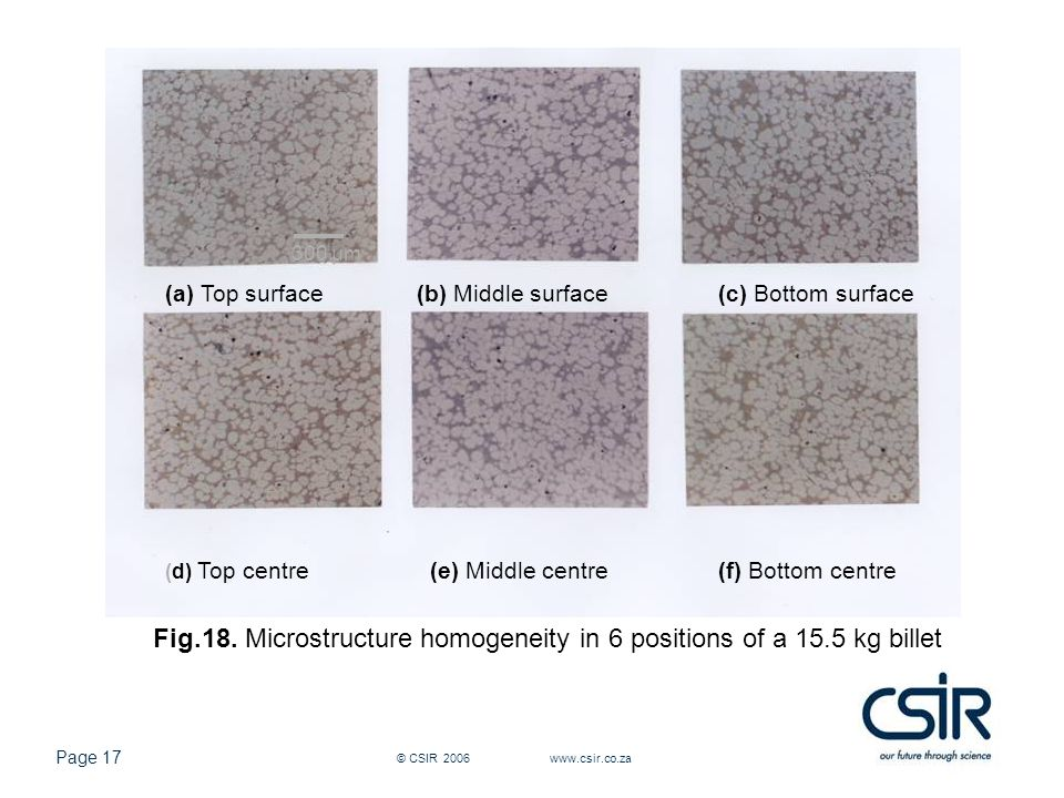 Page 17 © CSIR 2006 www.csir.co.za (a) Top surface(b) Middle surface(c) Bottom surface (d) Top centre(e) Middle centre(f) Bottom centre Fig.18.