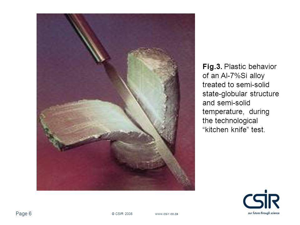 Page 17 © CSIR 2006 www.csir.co.za (a) Top surface(b) Middle surface(c) Bottom surface (d) Top centre(e) Middle centre(f) Bottom centre Fig.18.