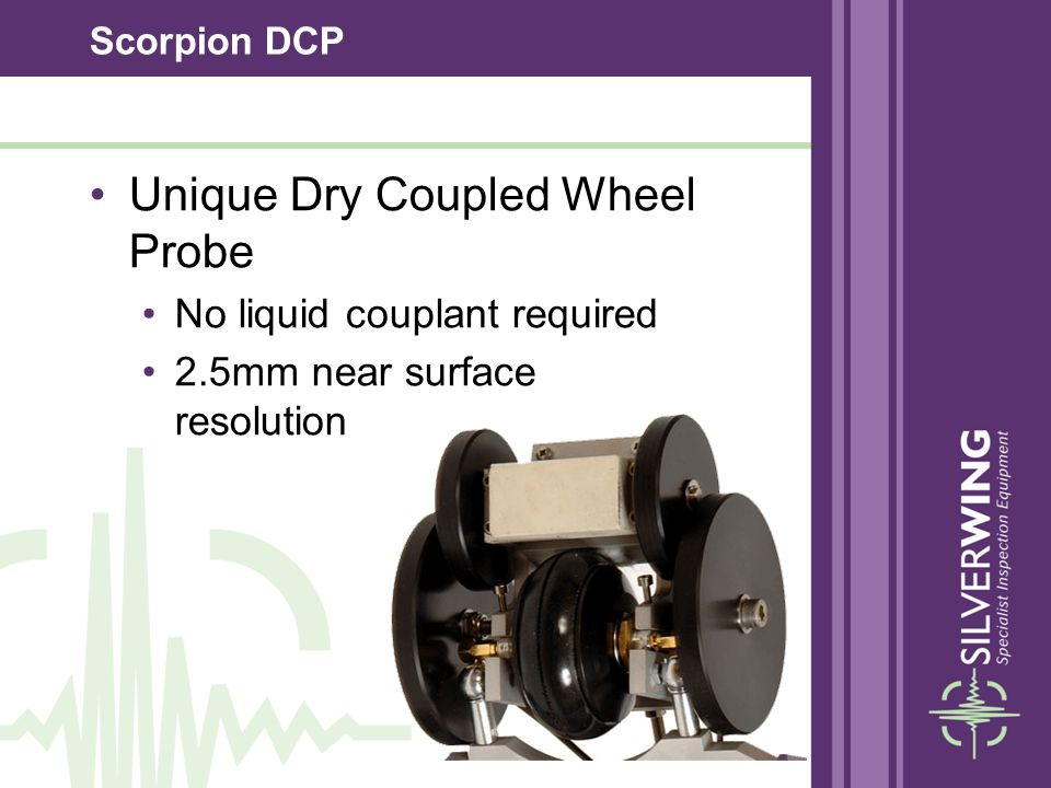 Scorpion DCP A 5mhz, twin crystal transducer is mounted in the centre of the wheel probe axle