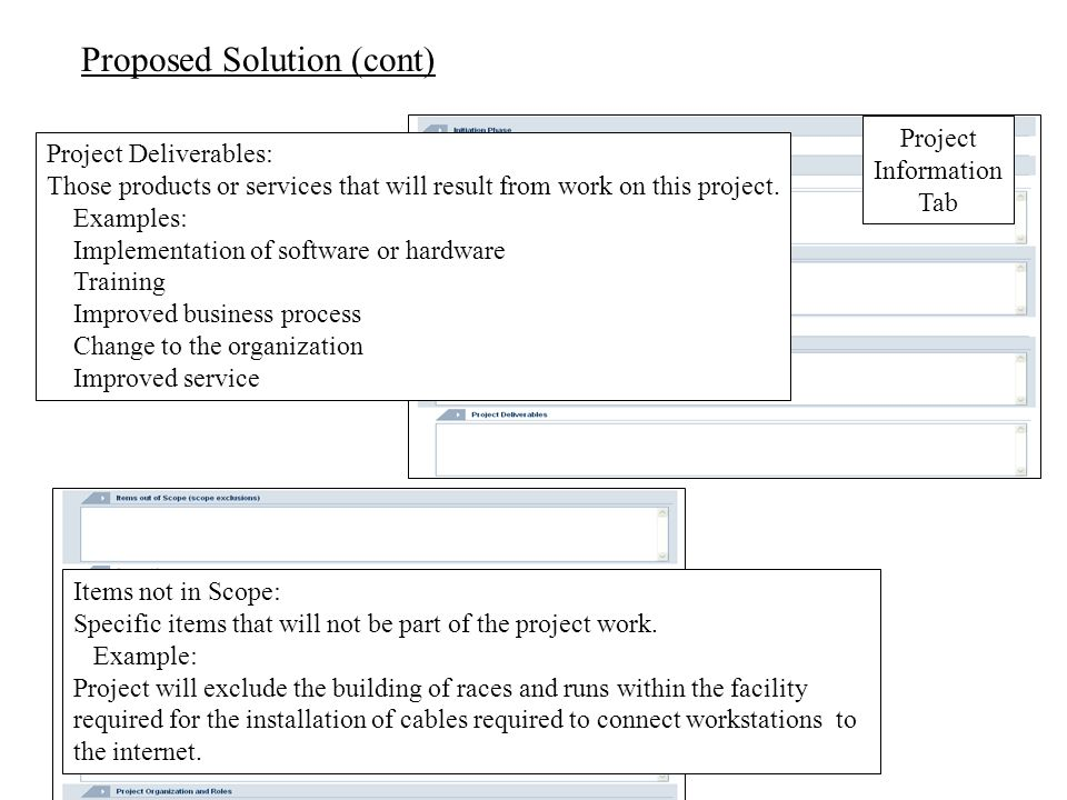 Proposed Solution (cont) Project Deliverables: Those products or services that will result from work on this project.