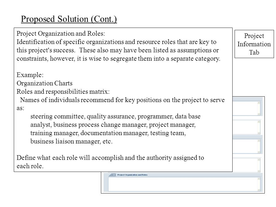 Proposed Solution (Cont.) Project Organization and Roles: Identification of specific organizations and resource roles that are key to this project s success.