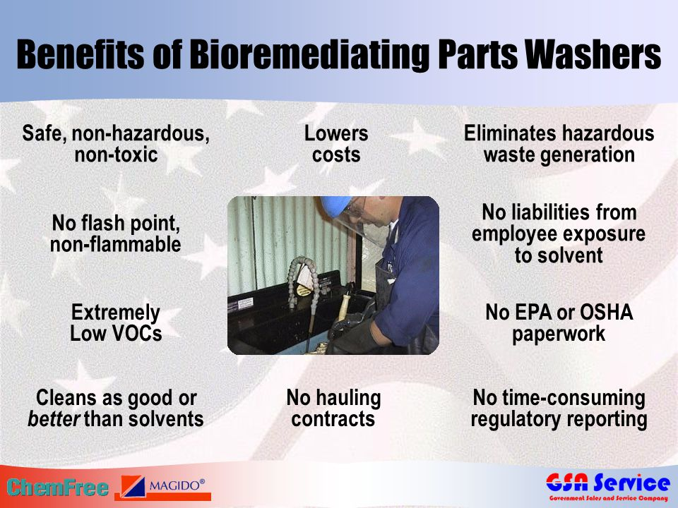 Benefits of Bioremediating Parts Washers No flash point, non-flammable Extremely Low VOCs Eliminates hazardous waste generation No liabilities from em