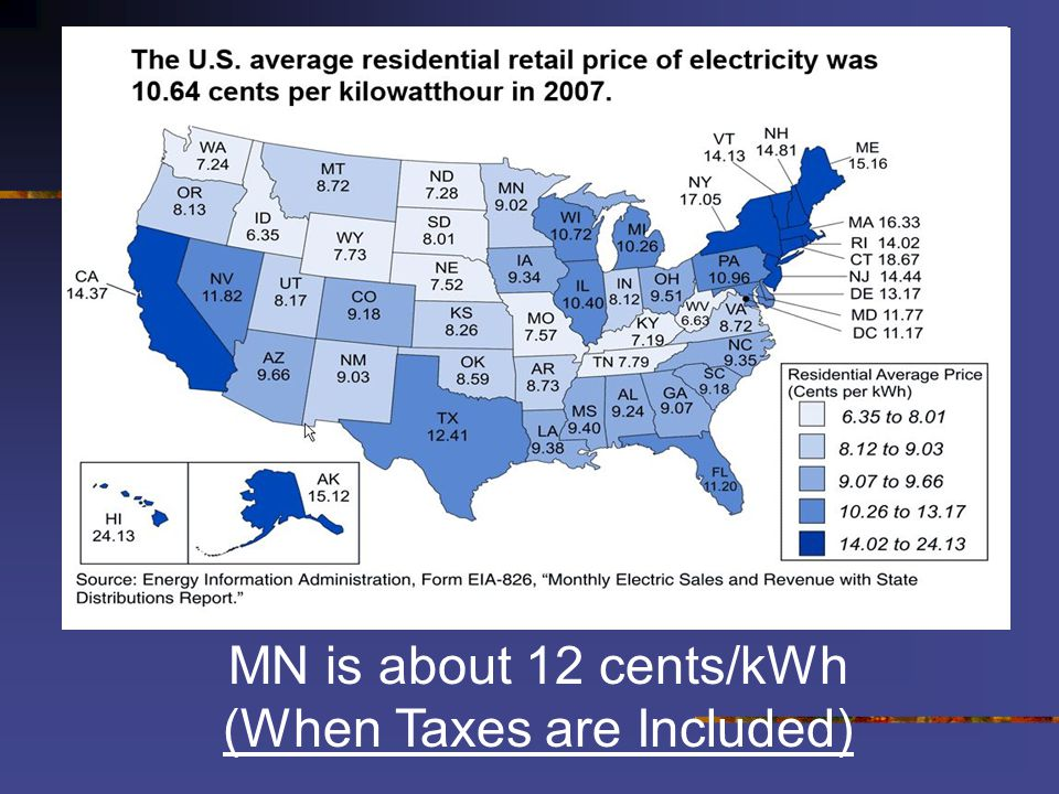 MN is about 12 cents/kWh (When Taxes are Included)