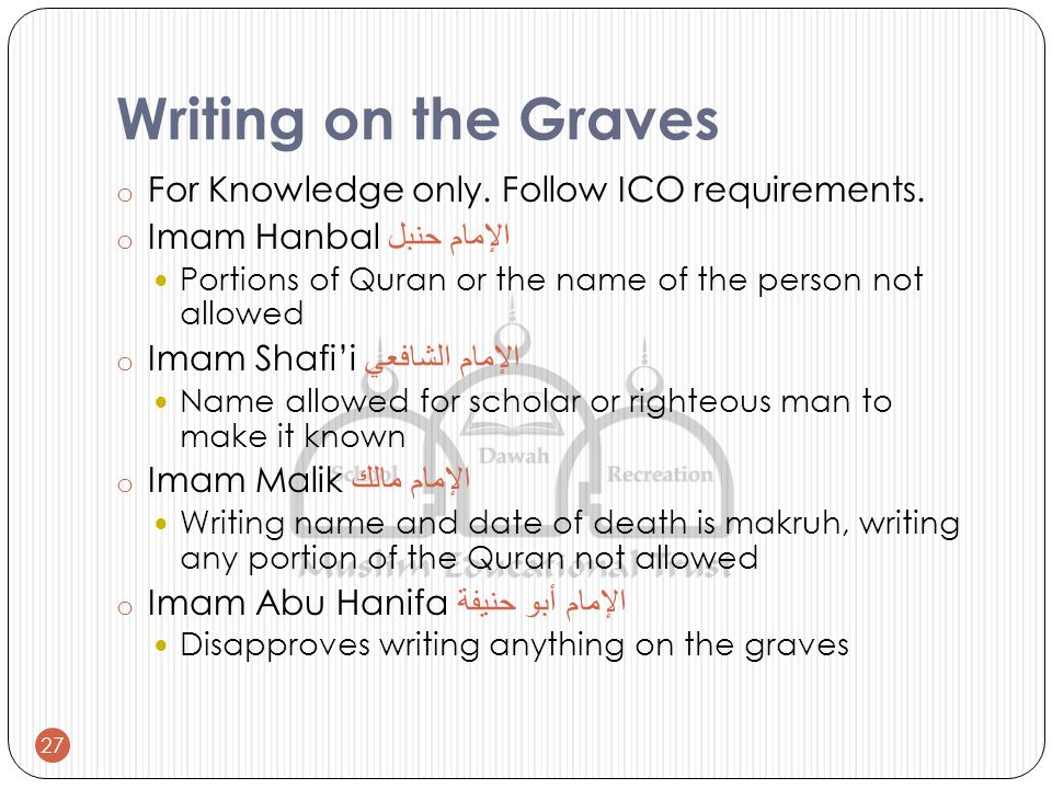 Writing on the Graves o For Knowledge only. Follow ICO requirements.
