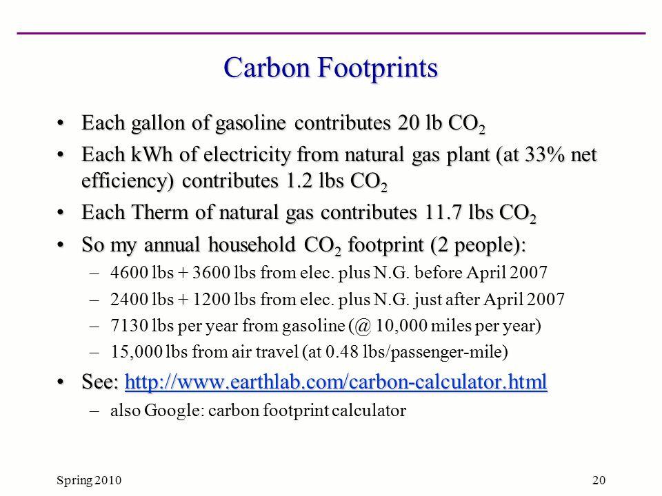 Spring 201020 Carbon Footprints Each gallon of gasoline contributes 20 lb CO 2Each gallon of gasoline contributes 20 lb CO 2 Each kWh of electricity f