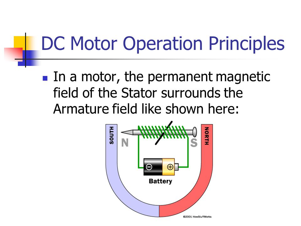DC Motor Operation Principles In a motor, the permanent magnetic field of the Stator surrounds the Armature field like shown here: