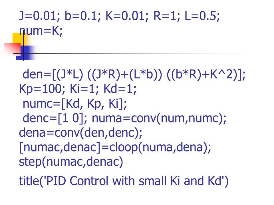 J=0.01; b=0.1; K=0.01; R=1; L=0.5; num=K; den=[(J*L) ((J*R)+(L*b)) ((b*R)+K^2)]; Kp=100; Ki=1; Kd=1; numc=[Kd, Kp, Ki]; denc=[1 0]; numa=conv(num,numc); dena=conv(den,denc); [numac,denac]=cloop(numa,dena); step(numac,denac) title( PID Control with small Ki and Kd )