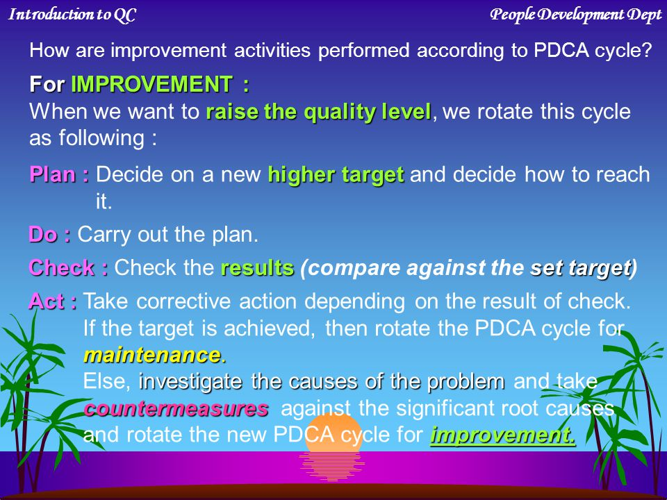 MAINTENANCE : PDCA Cycle for MAINTENANCE : keep current quality level When we keep current quality level, we rotate this cycle as following : Introduc