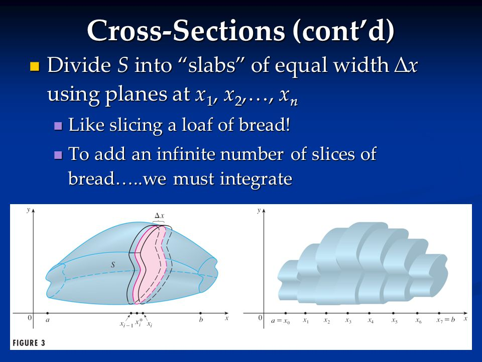 "Cross-Sections (cont'd) Divide S into ""slabs"" of equal width ∆x using planes at x 1, x 2,…, x n Divide S into ""slabs"" of equal width ∆x using planes a"