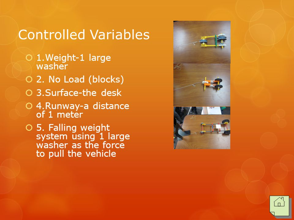 Controlled Variables  1.Weight-1 large washer  2. No Load (blocks)  3.Surface-the desk  4.Runway-a distance of 1 meter  5. Falling weight system