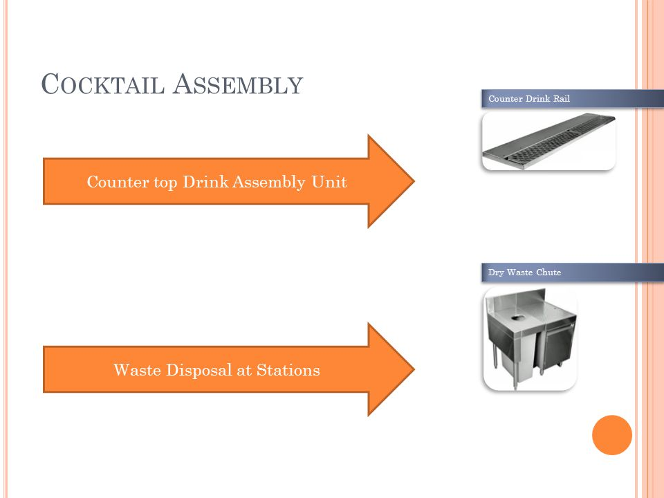 C OCKTAIL A SSEMBLY Counter top Drink Assembly Unit Waste Disposal at Stations Counter Drink Rail Dry Waste Chute