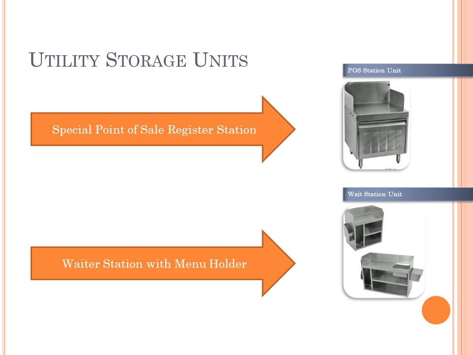 U TILITY S TORAGE U NITS Special Point of Sale Register Station Waiter Station with Menu Holder POS Station Unit Wait Station Unit