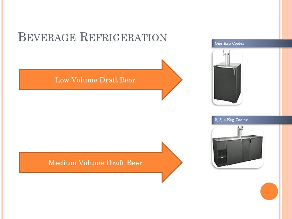 B EVERAGE R EFRIGERATION Low Volume Draft Beer Medium Volume Draft Beer One Keg Cooler 2, 3, 4 Keg Cooler