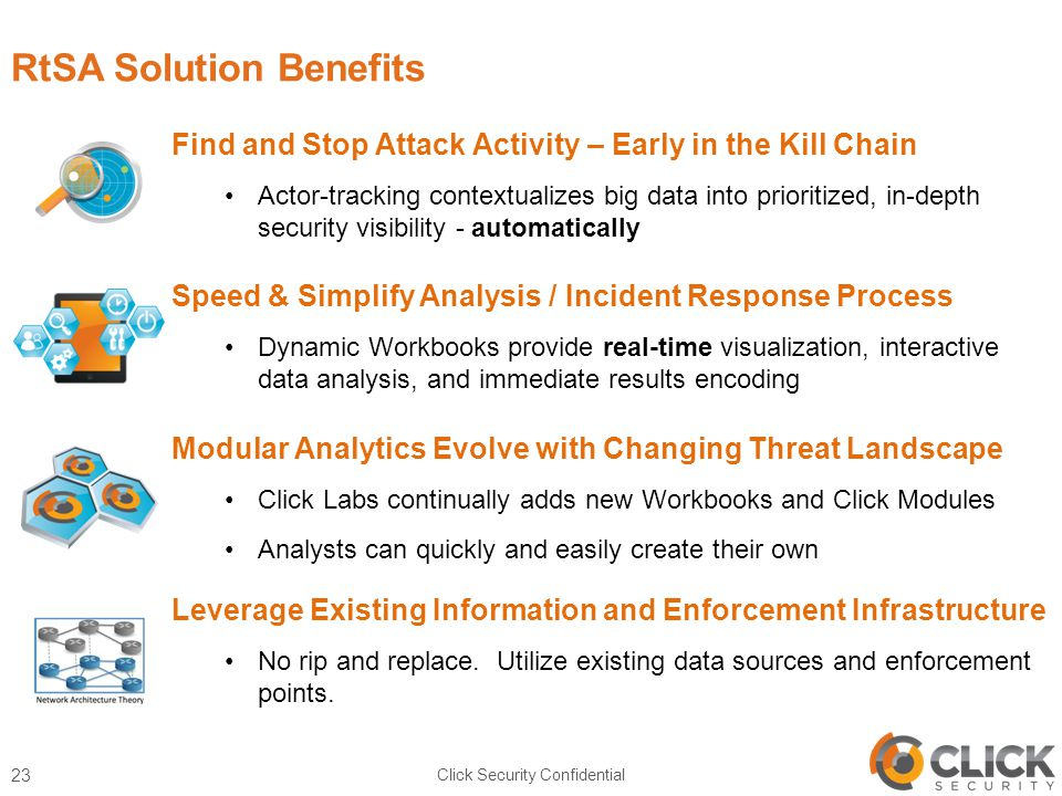 RtSA Solution Benefits Click Security Confidential 23 Find and Stop Attack Activity – Early in the Kill Chain Actor-tracking contextualizes big data into prioritized, in-depth security visibility - automatically Speed & Simplify Analysis / Incident Response Process Dynamic Workbooks provide real-time visualization, interactive data analysis, and immediate results encoding Modular Analytics Evolve with Changing Threat Landscape Click Labs continually adds new Workbooks and Click Modules Analysts can quickly and easily create their own Leverage Existing Information and Enforcement Infrastructure No rip and replace.