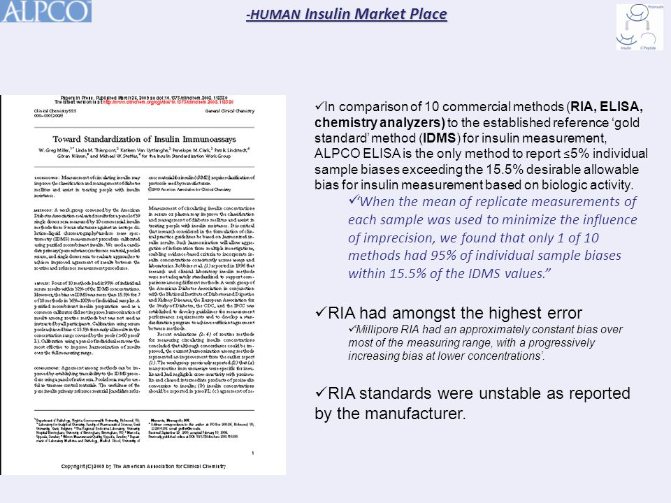 In comparison of 10 commercial methods (RIA, ELISA, chemistry analyzers) to the established reference 'gold standard' method (IDMS) for insulin measurement, ALPCO ELISA is the only method to report ≤ 5% individual sample biases exceeding the 15.5% desirable allowable bias for insulin measurement based on biologic activity.