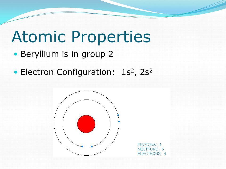 Atomic Properties Beryllium is in group 2 Electron Configuration: 1s 2, 2s 2