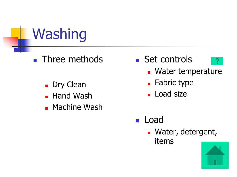 Washing Three methods Dry Clean Hand Wash Machine Wash Set controls Water temperature Fabric type Load size Load Water, detergent, items