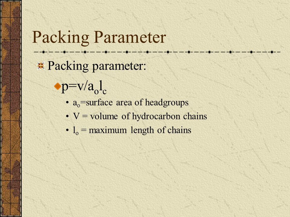 Packing Parameter Packing parameter: p=v/a o l c a o =surface area of headgroups V = volume of hydrocarbon chains l o = maximum length of chains