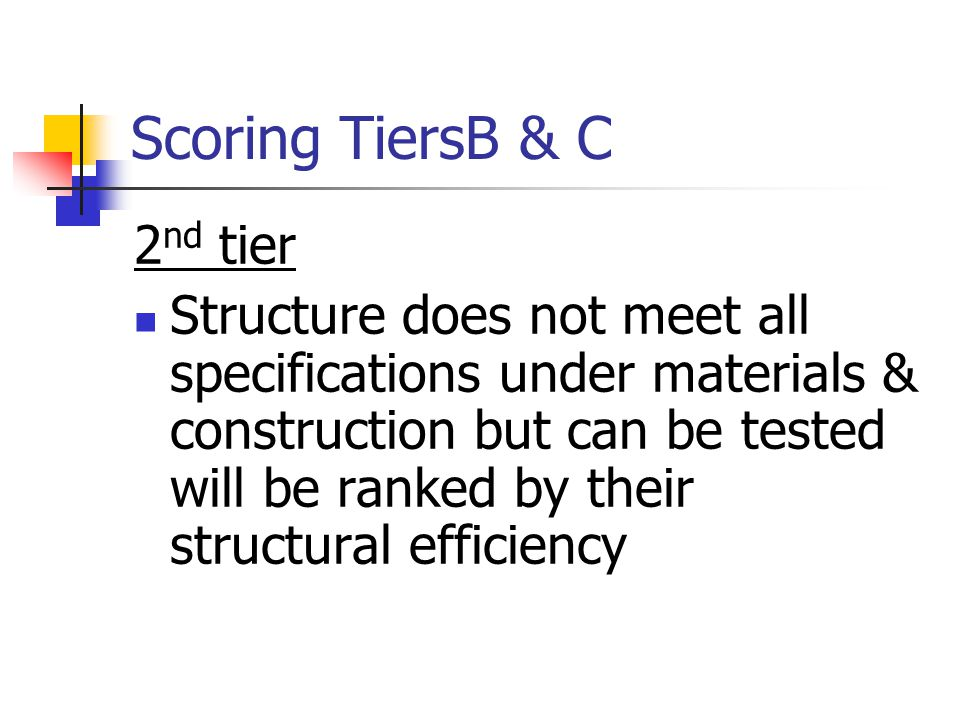 Scoring TiersB & C 2 nd tier Structure does not meet all specifications under materials & construction but can be tested will be ranked by their structural efficiency