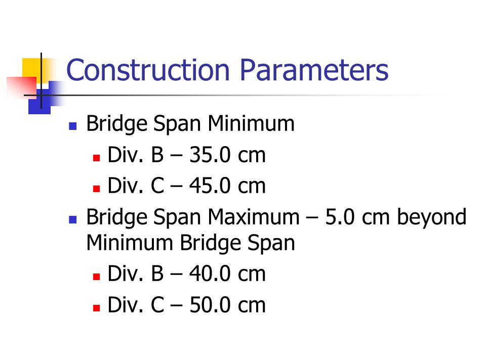 Construction Parameters Bridge Span Minimum Div. B – 35.0 cm Div.