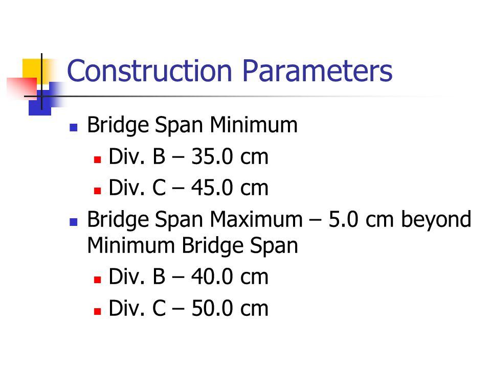 Scoring Tie Breakers Ties will be broken in favor of the lighter structure 2 nd tie breaker will be the lowest overall bridge height
