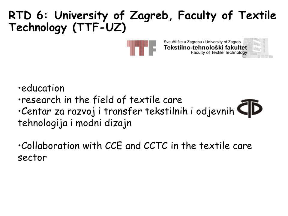 RTD 6: University of Zagreb, Faculty of Textile Technology (TTF-UZ) education research in the field of textile care Centar za razvoj i transfer tekstilnih i odjevnih tehnologija i modni dizajn Collaboration with CCE and CCTC in the textile care sector