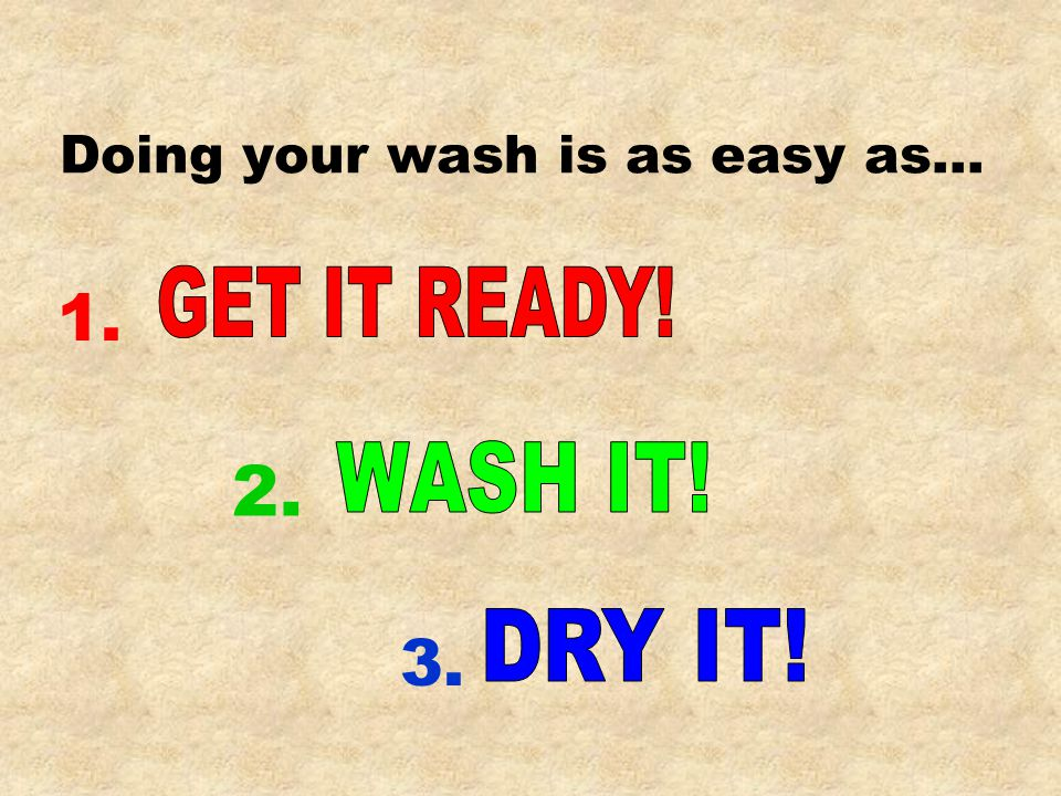 Doing your wash is as easy as… 3. 2. 1.
