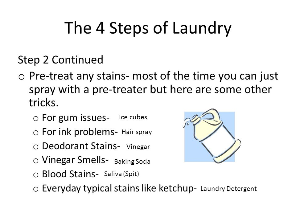 The 4 Steps of Laundry Step 3- Washing the Clothes Use the right amount of detergent.