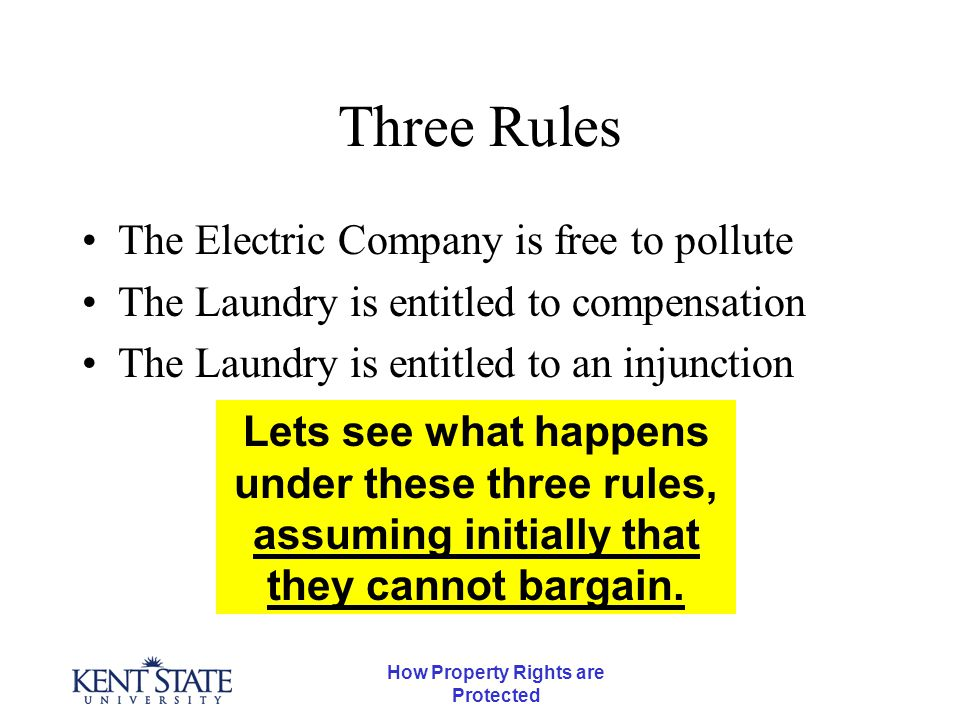 How Property Rights are Protected Three Rules The Electric Company is free to pollute The Laundry is entitled to compensation The Laundry is entitled to an injunction Lets see what happens under these three rules, assuming initially that they cannot bargain.